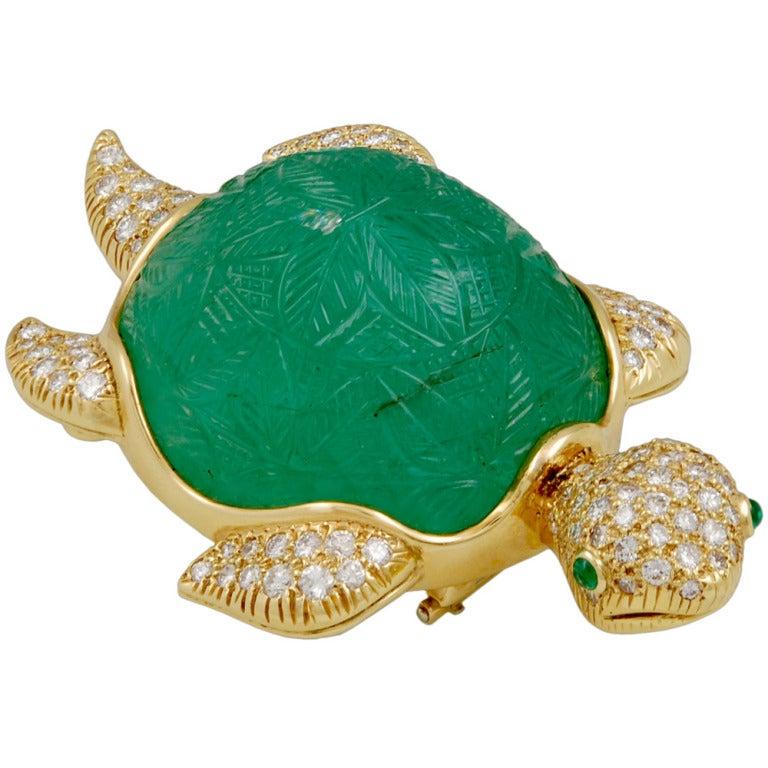 Van Cleef & Arpels Emerald Turtle Brooch