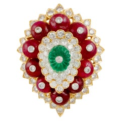 David Webb Diamond Emerald Ruby Brooch