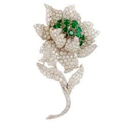 Depose Diamond and Emerald Flower Brooch