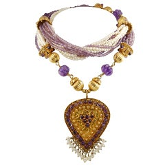 Gold Amethyst and Cultured Pearl Necklace