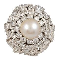 David Webb Diamond & Pearl Ring