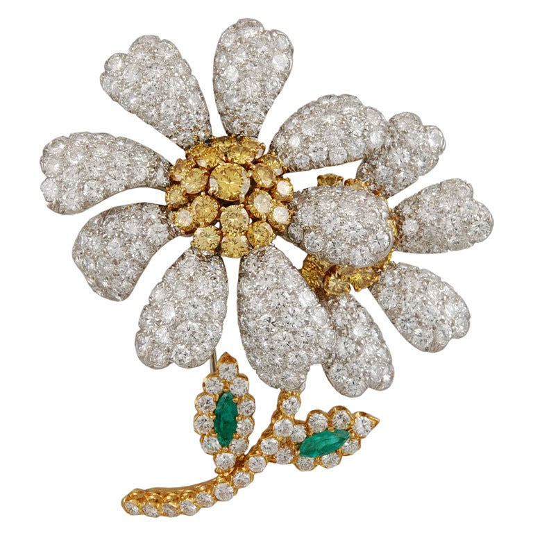 David Webb White and Yellow Diamond Emerald Flower Brooch For Sale