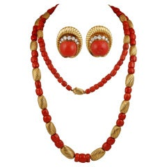 PATEK PHILIPPE Long Coral Necklace & Diamond Earrings