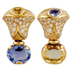 MARINA B. Diamond, Blue & Yellow Sapphire Earrings