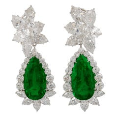 HARRY WINSTON Pear Shape & Marquise Diamond & Emerald Earrings