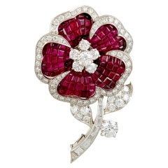 VAN CLEEF & ARPELS Diamond and Mystery Set Ruby  Flower Brooch