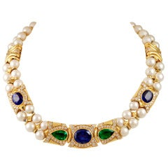 BULGARI Sapphire,Emerald & Pearl Necklace