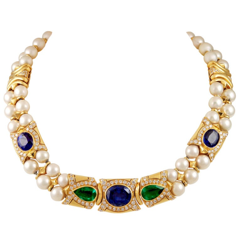 Bulgari Pearl Necklace: Bulgari Sapphire Emerald Pearl Necklace For Sale At 1stdibs