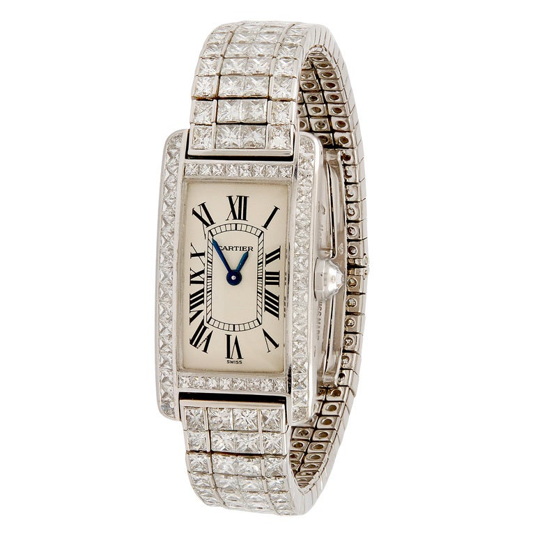 Cartier White Gold and Diamond Tank Americaine Rivere Watch