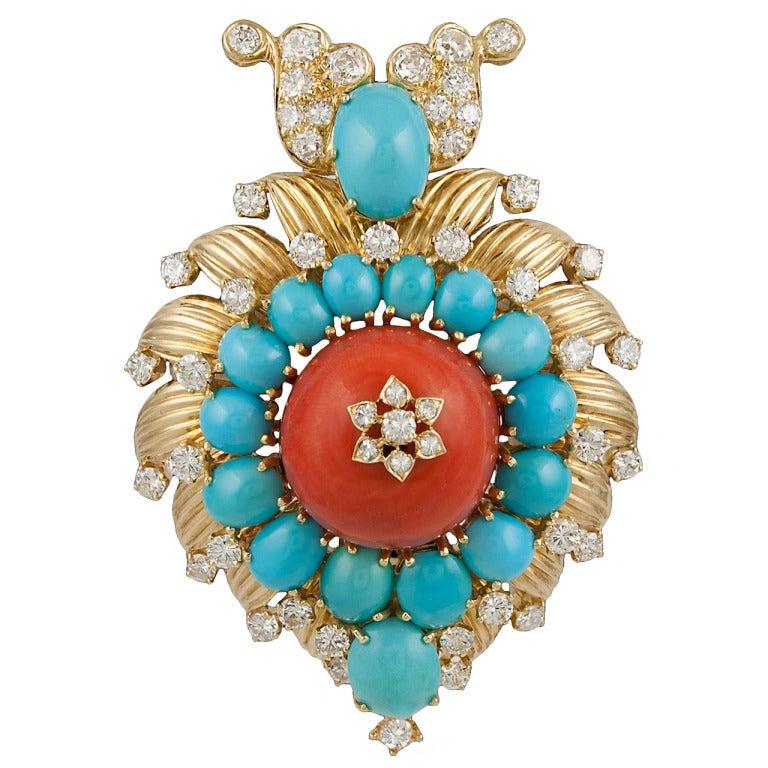 Van Cleef & Arpels Turquoise Coral Diamond Pendant/Brooch