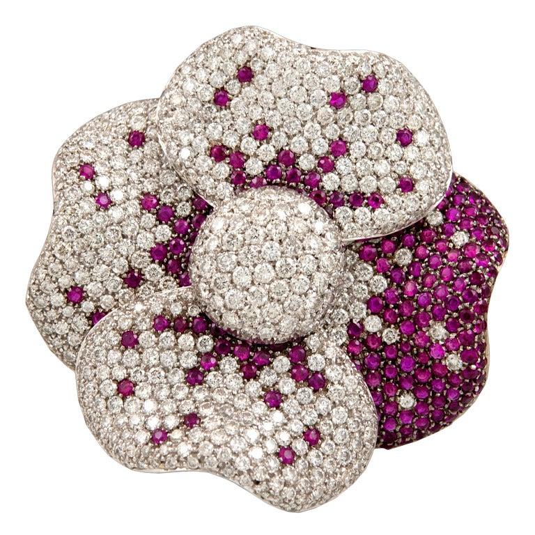 Diamond Ruby And Green Garnet Flower Ring At 1stdibs