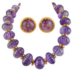ZOLOTAS Carved Amethyst Necklace and Earrings