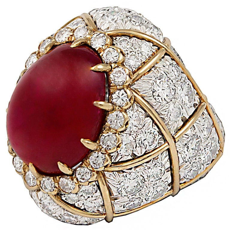 DAVID WEBB Two Tone Cabochon Ruby Diamond Ring