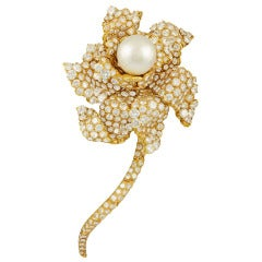 Oscar Heyman Diamond Pearl Flower Brooch