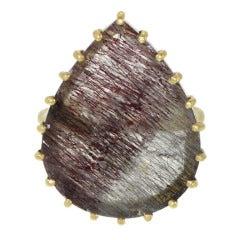 Pear Shaped Rutilated Quartz Ring