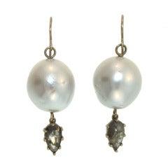 South Sea Pearl Diamond Slice Earrings