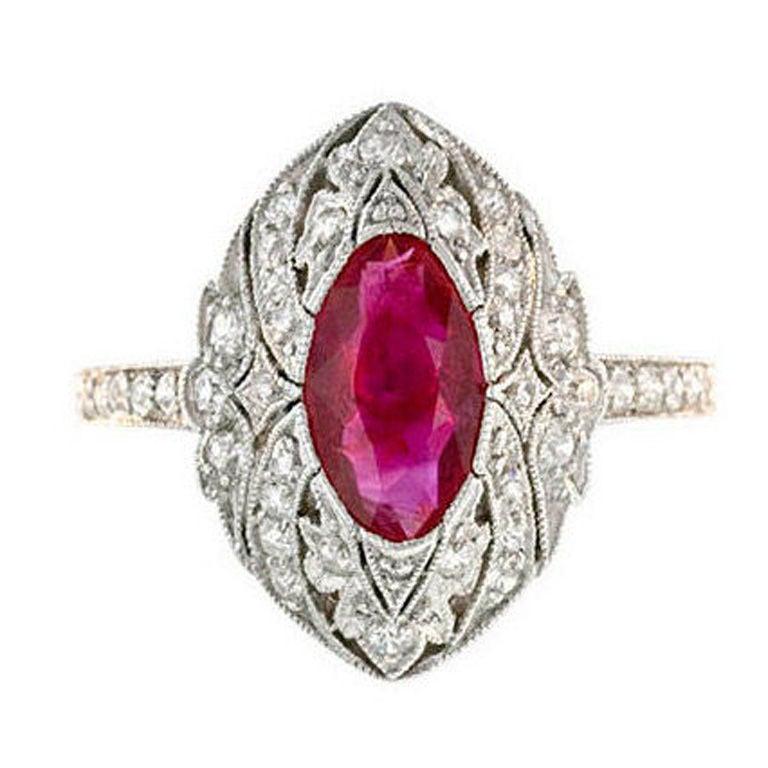 edwardian platinum ruby and ring at 1stdibs