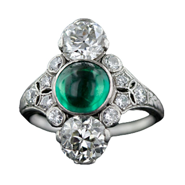 deco cabochon emerald ring by dreicer and co for sale