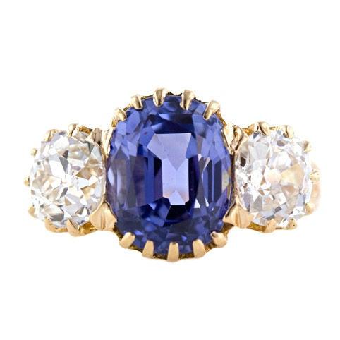 Antique Cushion Cut Violet Blue Sapphire & Diamond Three Stone Victorian Ring