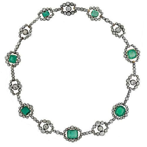 Antique Cushion Cut Emerald & Diamond Victorian Silver over Gold Necklace 2