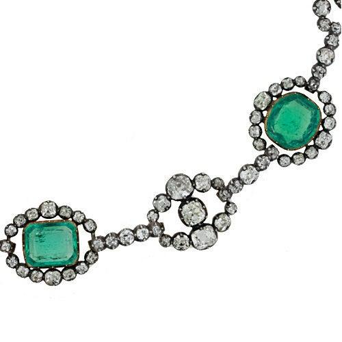 Antique Cushion Cut Emerald & Diamond Victorian Silver over Gold Necklace 4