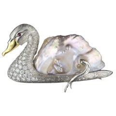 Large Baroque Pearl and Diamond Swan Brooch