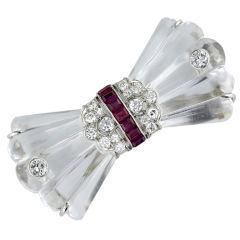 BB&B Art Deco Rock Crystal Ruby and Diamond Bow Pin
