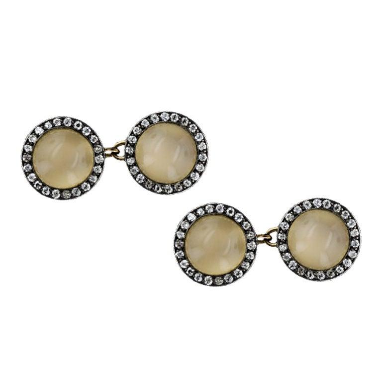 Fabulous cat 39 s eye moonstone cufflinks at 1stdibs for Cat s eye moonstone jewelry