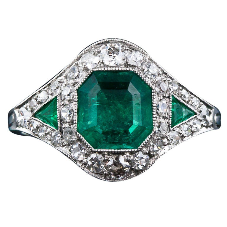 deco emerald and ring at 1stdibs