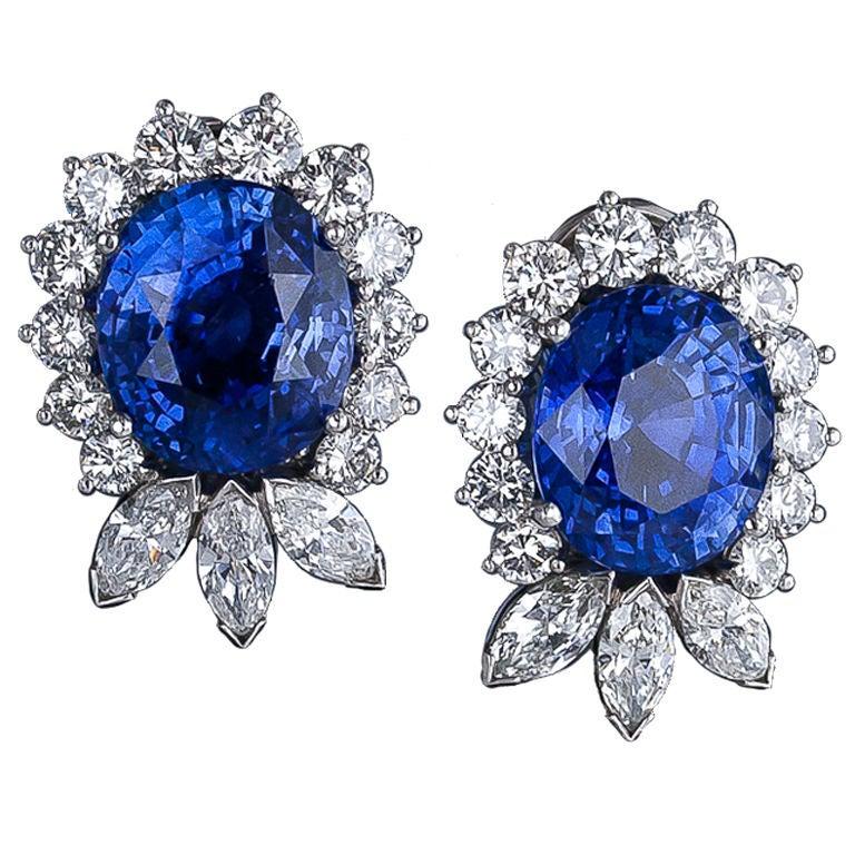 Exquisite 22.78 Carat Sapphire Diamond Platinum Earrings 1
