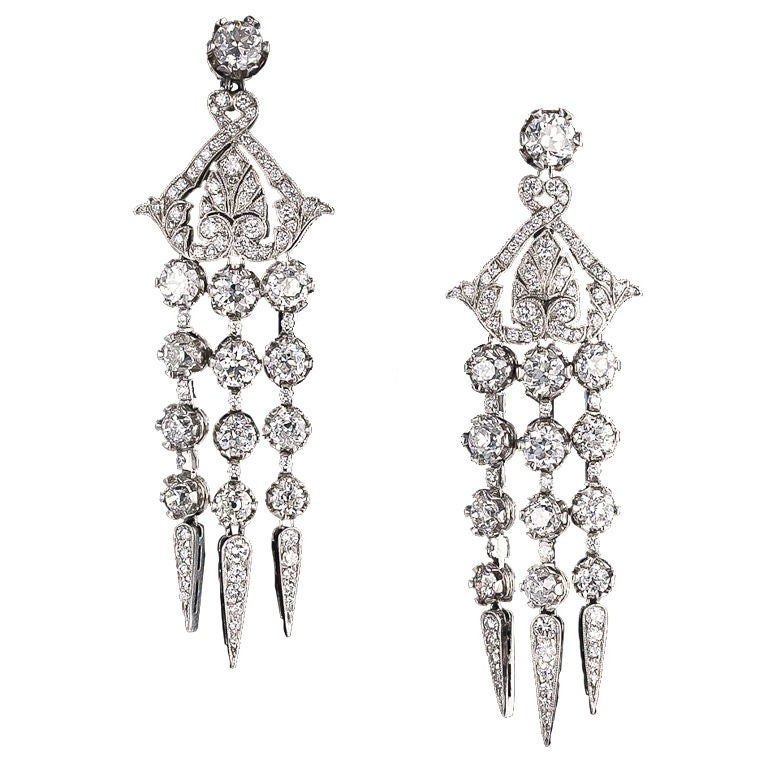 Diamond Platinum Edwardian Style Chandelier Earrings For Sale