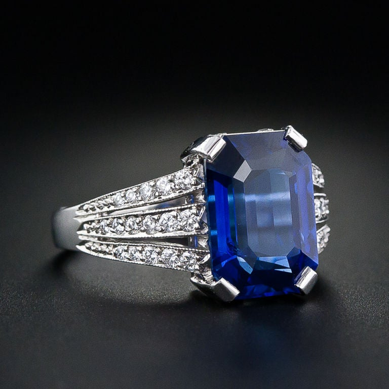 5 10 carat emerald cut sapphire and ring at 1stdibs