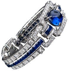 Magnificent Art Deco Sapphire and Diamond Bracelet