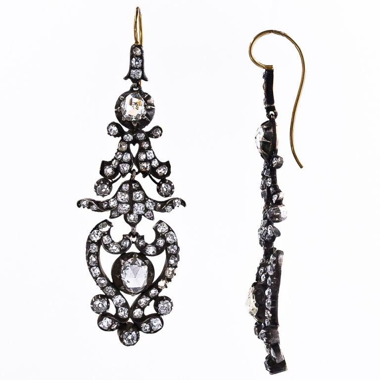 Antique Victorian Diamond Drop Earrings 2