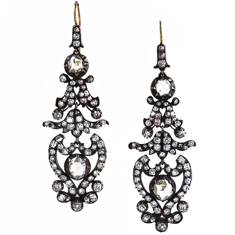 Antique Victorian Diamond Drop Earrings 1