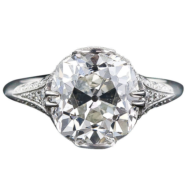 5 00 ct Antique Cushion Cut French Made Diamond Ring at 1stdibs