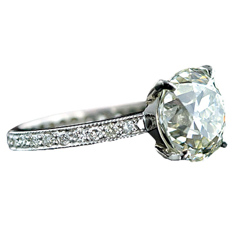 4 67 Carat Antique Cushion Cut Diamond Wedding Set at 1stdibs