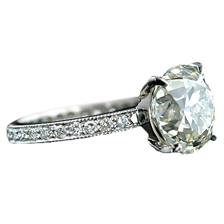 4 67 Carat Antique Cushion Cut Diamond Wedding Set at 1stdibs