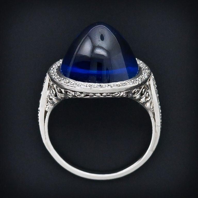 Edwardian No-Heat 15.75 Carat Gem Cabochon Sapphire Diamond Platinum Ring 5