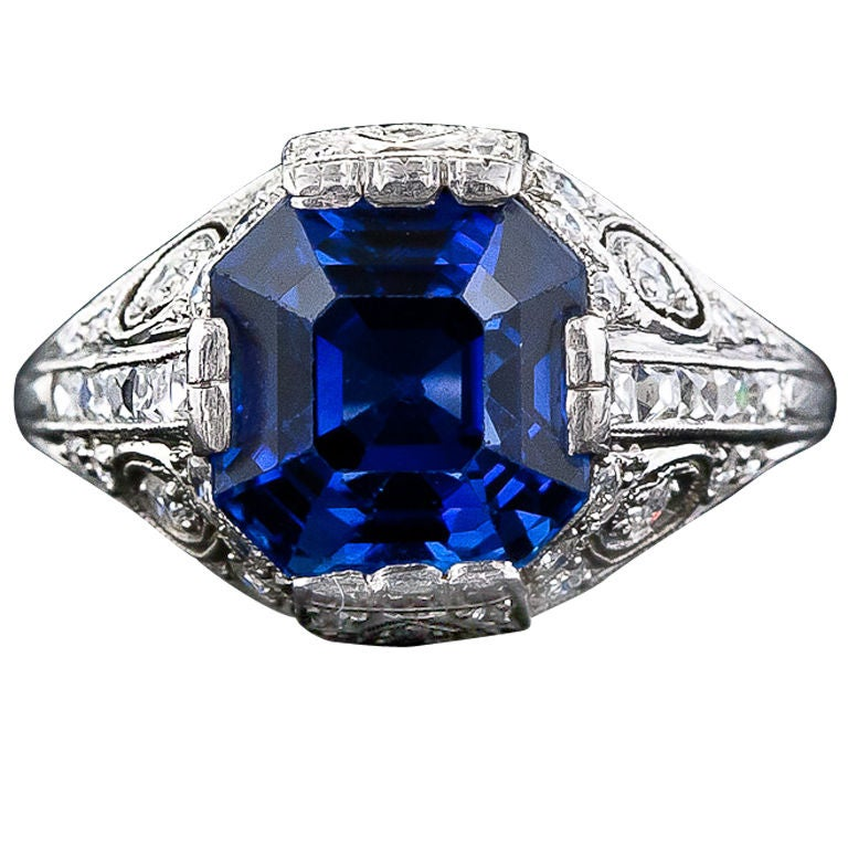 tiffany and company art deco sapphire and diamond ring at 1stdibs. Black Bedroom Furniture Sets. Home Design Ideas