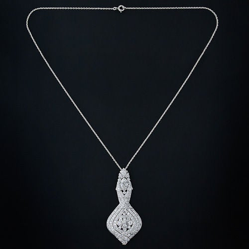 La Cloche Edwardian Diamond Pendant Necklace image 2