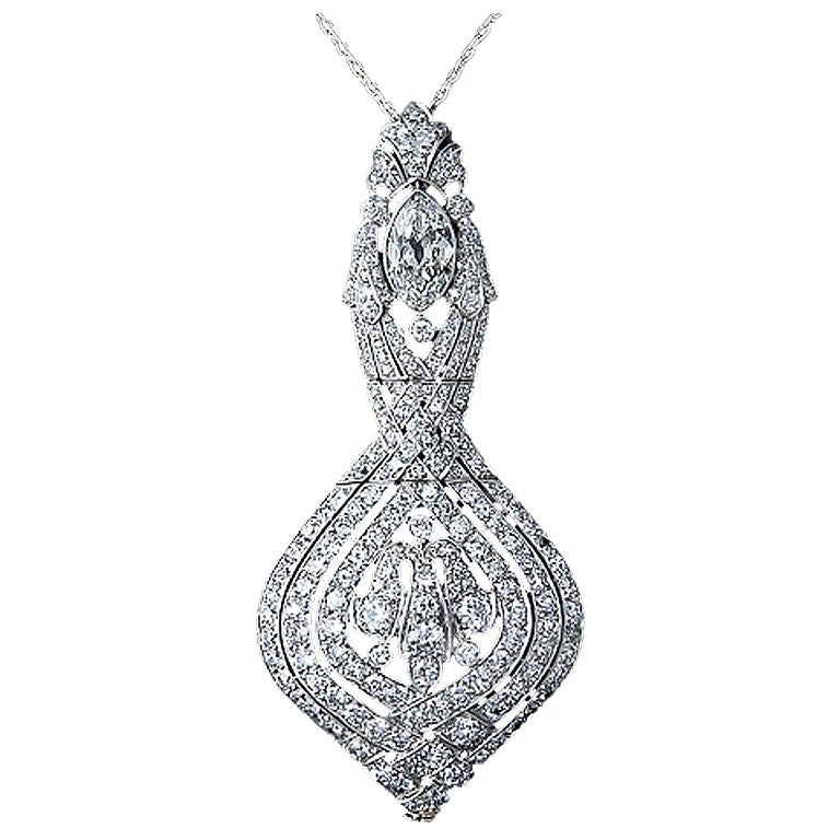 La Cloche Edwardian Diamond Pendant Necklace