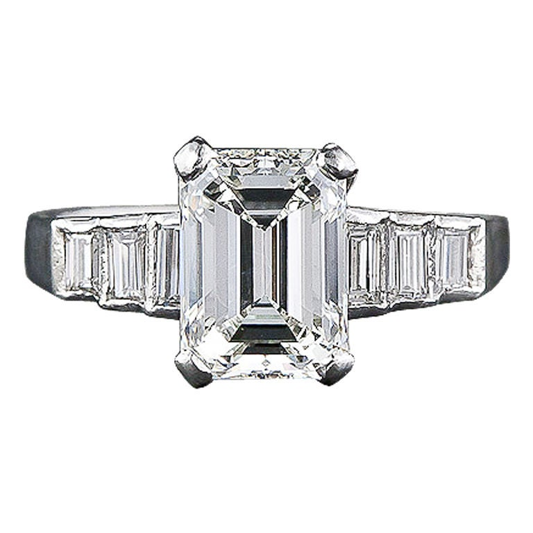2 00 carat emerald cut engagement ring at 1stdibs