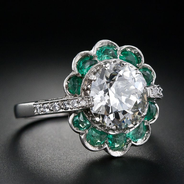 2.56 Carat Vintage Diamond Ring with Emeralds image 2
