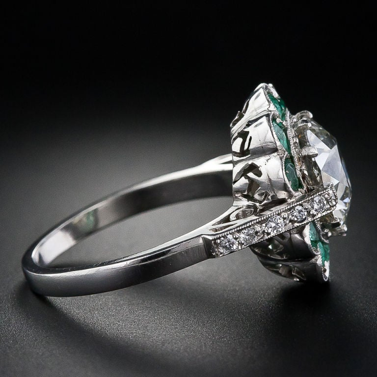 2.56 Carat Vintage Diamond Ring with Emeralds image 3