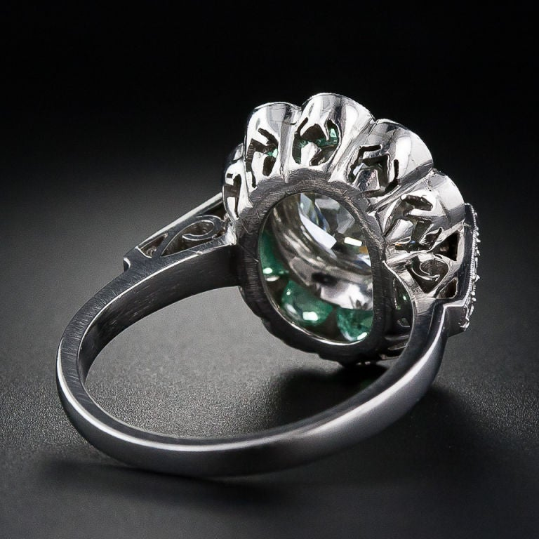 2.56 Carat Vintage Diamond Ring with Emeralds image 4
