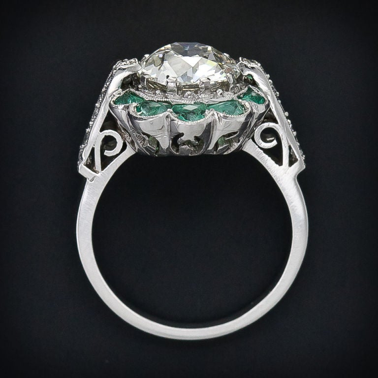 2.56 Carat Vintage Diamond Ring with Emeralds image 5