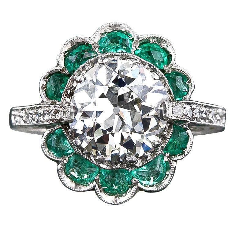 2.56 Carat Vintage Diamond Ring with Emeralds