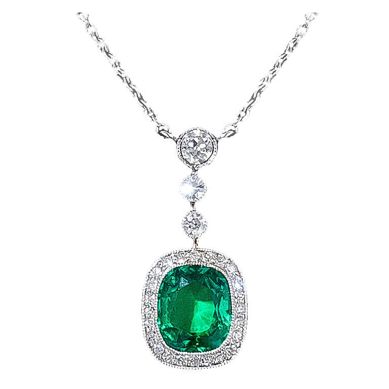 Emerald And Diamond Pendant Necklace At 1stdibs