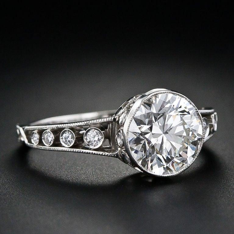 Edwardian Style 1.96 Carat Diamond Engagement Ring At 1stdibs